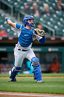 Buffalo Bisons Reese McGuire (7) throws to first base during an International League game against the Norfolk Tides on June 21, 2019 at Sahlen Field in Buffalo, New York.  Buffalo defeated Norfolk 2-1, the first game of a doubleheader.  (Mike Janes/Four Seam Images)