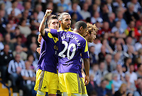 Pictured L-R: Pablo Hernandez of Swansea celebrating his goal with team mates Chico Flores, Jonathan de Guzman and Jose Canas, making the score 0-2 to his team.. Sunday 01 September 2013<br /> Re: Barclay's Premier League, West Bromwich Albion v Swansea City FC at The Hawthorns, Birmingham, UK.