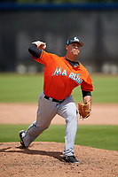 Miami Marlins pitcher Vincenzo Aiello (9) during a Minor League Spring Training game against the Washington Nationals on March 28, 2018 at FITTEAM Ballpark of the Palm Beaches in West Palm Beach, Florida.  (Mike Janes/Four Seam Images)