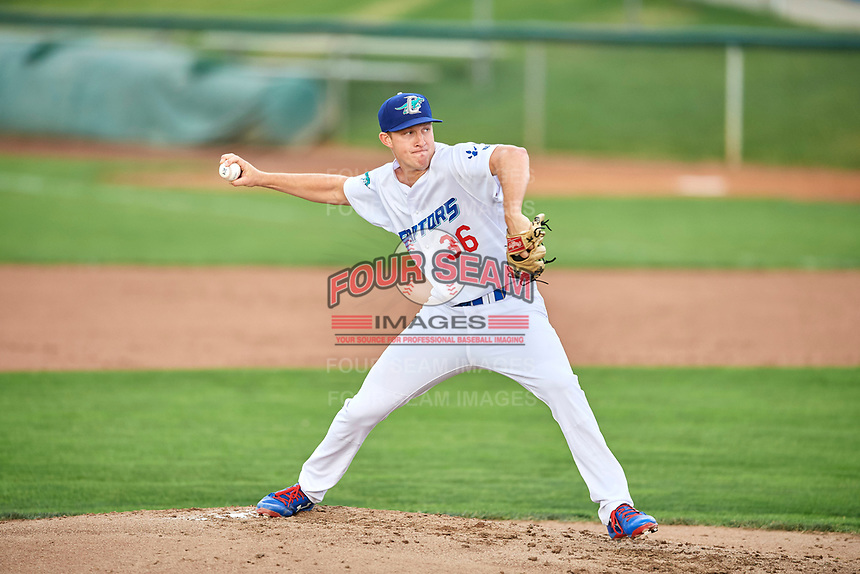 Ogden Raptors starting pitcher Brett De Geus (36) delivers a pitch to the plate against the Grand Junction Rockies at Lindquist Field on July 25, 2018 in Ogden, Utah. The Rockies defeated the Raptors 4-0. (Stephen Smith/Four Seam Images)
