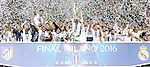 Real Madrid's team celebrates the victory in the UEFA Champions League 2015/2016 Final match.May 28,2016. (ALTERPHOTOS/Acero)