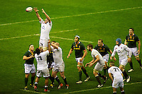Ben Morgan of England secures the lineout ball during the QBE Autumn International match between England and South Africa at Twickenham on Saturday 24 November 2012 (Photo by Rob Munro)