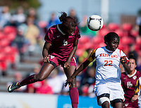 Jessica Price (6) of Florida State heads the ball onto goal past Shade Pratt (22) of Maryland during the game at Ludwing Field in College Park, MD.  Florida State defeated Maryland, 1-0.