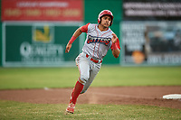 Williamsport Crosscutters third baseman Jesus Henriquez (4) runs the bases during a game against the Batavia Muckdogs on June 21, 2018 at Dwyer Stadium in Batavia, New York.  Batavia defeated Williamsport 6-5.  (Mike Janes/Four Seam Images)