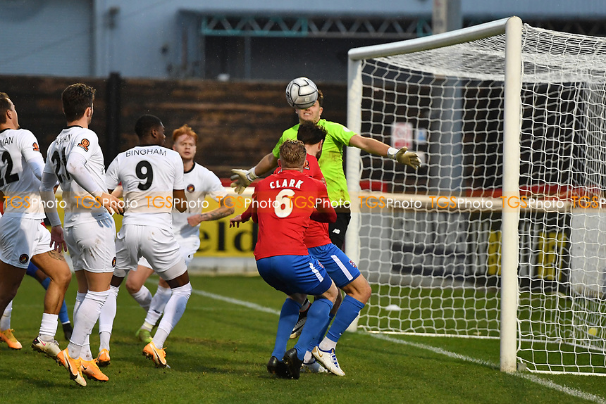 Callum Reynolds scores the third Goal and celebrates during Dagenham & Redbridge vs Ebbsfleet United, Buildbase FA Trophy Football at the Chigwell Construction Stadium on 19th December 2020