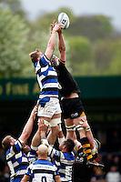 Photo: Richard Lane/Richard Lane Photography. London Wasps v Bath Rugby. Amlin Challenge Cup Semi Final. 27/04/2014. Wasps' Kearnan Myall and Bath's Dominic Day challenge for a lineout.