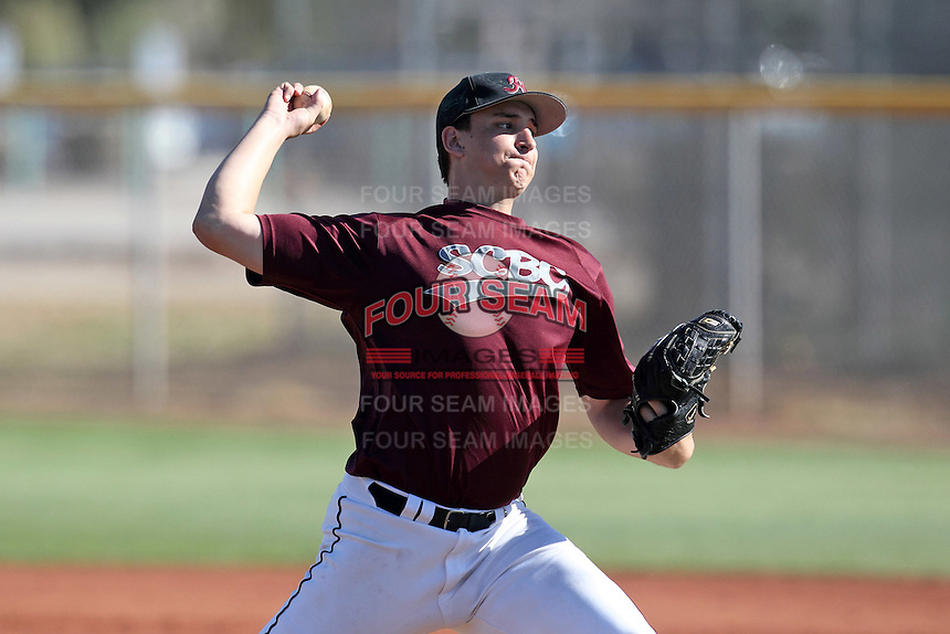 Hamilton High School pitcher Cody Lawson during an intrasquad scrimmage at Hamilton High School on January 20, 2012 in Chandler, Arizona.  (Mike Janes/Four Seam Images)