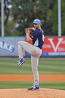 Myrtle Beach Pelicans pitcher Jake Stinnett (21) on the mound during a game against the Charleston RiverDogs at Joseph P.Riley Jr. Ballpark on April 6, 2016 in Charleston, South Carolina. Myrtle Beach defeated Charleston  4-1. (Robert Gurganus/Four Seam Images)