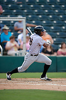 Jupiter Hammerheads left fielder Stone Garrett (26) follows through on a swing during a game against the Fort Myers Miracle on April 9, 2017 at CenturyLink Sports Complex in Fort Myers, Florida.  Jupiter defeated Fort Myers 3-2.  (Mike Janes/Four Seam Images)