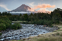 Twilight colours over Waiwhakaiho River with Taranaki, Mt. Egmont, in background, Egmont National Park, North Island, New Zealand, NZ