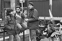 "- Milan, young messengers in motorcycle, said  Pony Express or Mototaxi, tipical job for so called ""Paninari"" people (October 1986).<br /> <br /> - Milano, giovani corrieri in motocicletta, detti Pony Express o Mototaxi, lavoro tipico dei cosiddetti ""paninari"" (ottobre 1986)."