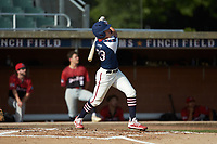 DeAngelo Giles (23) (NC State) of the High Point-Thomasville HiToms follows through on his swing against the Deep River Muddogs at Finch Field on June 27, 2020 in Thomasville, NC.  The HiToms defeated the Muddogs 11-2. (Brian Westerholt/Four Seam Images)