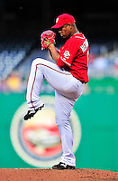 22 April 2010: Washington Nationals' starting pitcher Livan Hernandez on the mound during a game against the Colorado Rockies at Nationals Park in Washington, DC. The Rockies shut out the Nationals 2-0 gaining a 2-2 series split. Mandatory Credit: Ed Wolfstein Photo