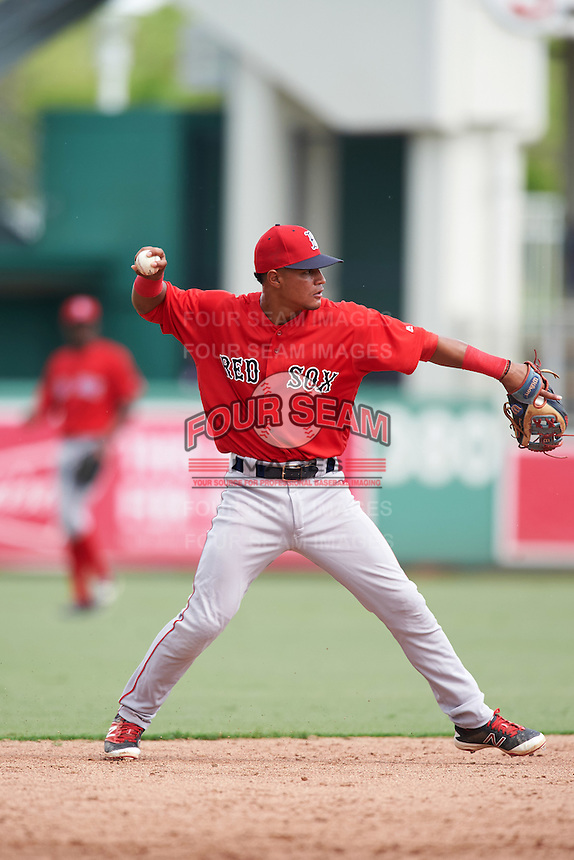 Boston Red Sox Santiago Espinal (10) during an Instructional League game against the Minnesota Twins on September 23, 2016 at JetBlue Park at Fenway South in Fort Myers, Florida.  (Mike Janes/Four Seam Images)