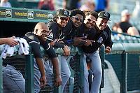Jupiter Hammerheads Harold Riggins (18), Yefri Perez (12), Jose Adames (28), Felix Munoz (24), and Chipper Smith (31) during a game against Bradenton Marauders on August 4, 2015 at McKechnie Field in Bradenton, Florida.  Jupiter defeated Bradenton 9-3.  (Mike Janes/Four Seam Images)