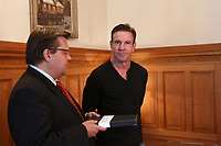 File Photo  - American actor Denis Quaid meet Montreal Mayor Denis Coderre at City hall, August 11, 2015