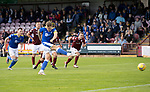 Arbroath v St Johnstone…15.08.21  Gayfield Park      Premier Sports Cup<br />Jason Kerr's penalty is saved<br />Picture by Graeme Hart.<br />Copyright Perthshire Picture Agency<br />Tel: 01738 623350  Mobile: 07990 594431