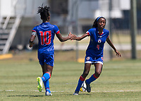Bradenton, FL - Sunday, June 12, 2018: Melchie Dumonay, goal celebration, Ruthny Mathurin prior to a U-17 Women's Championship 3rd place match between Canada and Haiti at IMG Academy. Canada defeated Haiti 2-1.