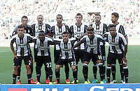 Calcio, Serie A: Lazio vs Juventus. Roma, stadio Olimpico, 27 agosto 2016.<br /> Juventus players, back row, from left, Gianluigi Buffon, Giorgio Chiellini, Mehdi Benatia, Mario Mandzukic, Andrea Barzagli, Sami Khedira, front row, from left, Paulo Dybala, Kwadwo Asamoah, Dani Alves, Mario Lemina and Alex Sandro pose prior to the start of the Serie A soccer match between Lazio and Juventus, at Rome's Olympic stadium, 27 August 2016. Juventus won 1-0.<br /> UPDATE IMAGES PRESS/Isabella Bonotto
