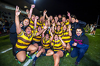 Porirua celebrate winning the 2019 Wellington secondary schools girls 1st XV rugby final between Porirua/Aotea College (combined) and Hutt Valley High School at Porirua Park in Wellington, New Zealand on Wednesday, 21 August 2019. Photo: Dave Lintott / lintottphoto.co.nz