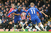 Romelu Lukaku of Chelsea tries to shake off a couple of Southampton challenges during Chelsea vs Southampton, Premier League Football at Stamford Bridge on 2nd October 2021
