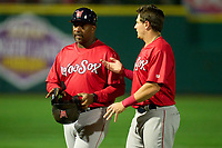Worcester Red Sox Worcester Red Sox manager Billy McMillon (51) talks with Tate Matheny (35) during a game against the Rochester Red Wings on September 2, 2021 at Frontier Field in Rochester, New York.  (Mike Janes/Four Seam Images)