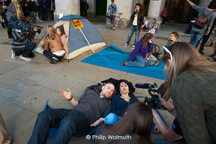 Occupy the London Stock Exchange. Protesters gather at St.Pauls Cathedral on a global day of action against corporate greed.