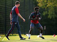 Pictured: Wilfried Bony goes through his medical with Ritson Lloyd at the Fairwood Training Ground, Wales, UK. Thursday 31 August 2017<br /> Re: Wilfried Bony has signed a contract with Swansea City FC.
