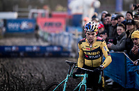 Wout van Aert (BEL/Jumbo - Visma) loudly cheered on in his first race back after his severe crash in the 2019 Tour de France.<br /> <br /> Azencross Loenhout 2019 (BEL)<br />  <br /> ©kramon