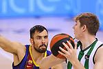 League ACB-ENDESA 2020/2021.Game 15.<br /> FC Barcelona vs Club Joventut Badalona: 88-74.<br /> Pierre Oriola vs Simon Birgander.