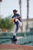 GCL Braves pitcher Carlos De La Cruz (30) during a Gulf Coast League game against the GCL Orioles on August 5, 2019 at Ed Smith Stadium in Sarasota, Florida.  GCL Orioles defeated the GCL Braves 4-3 in the first game of a doubleheader.  (Mike Janes/Four Seam Images)