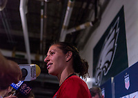 PHILADELPHIA, PA - AUGUST 29: Carli Lloyd #10 of the United States talks to the media during a game between Portugal and the USWNT at Lincoln Financial Field on August 29, 2019 in Philadelphia, PA.