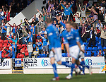 St Johnstone v Ross County...17.08.13 SPFL<br /> Sainst fans celebrates as Dave Mackay scores to make it 4-0<br /> Picture by Graeme Hart.<br /> Copyright Perthshire Picture Agency<br /> Tel: 01738 623350  Mobile: 07990 594431