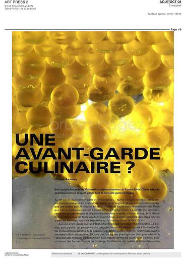 """FRANCE, Paris, August 2008..Article """"Une avant-garde culinaire"""" published in Art Press magazine..FRANCE, Paris, Mai 2008..Article """"Une avant-garde culinaire"""" publié dans Art Press..© Bruno Cogez"""