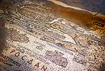 Jordanien, Gouvernement Amman, Madaba: aelteste Karte des Heiligen Landes in Mosaikform im Innern der Griechisch Orthodoxen Kirche | Jordan, Amman Governorate, Madaba: Oldest map (in mosaic form) of the Holyland, inside Greek Orthodox Church