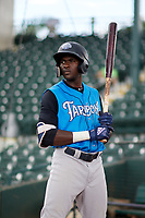 Tampa Yankees Estevan Florial (11) warms up on deck during a game against the Bradenton Marauders on August 12, 2018 at LECOM Park in Bradenton, Florida.  The game was suspended in the bottom of the first inning due to weather.  (Mike Janes/Four Seam Images)