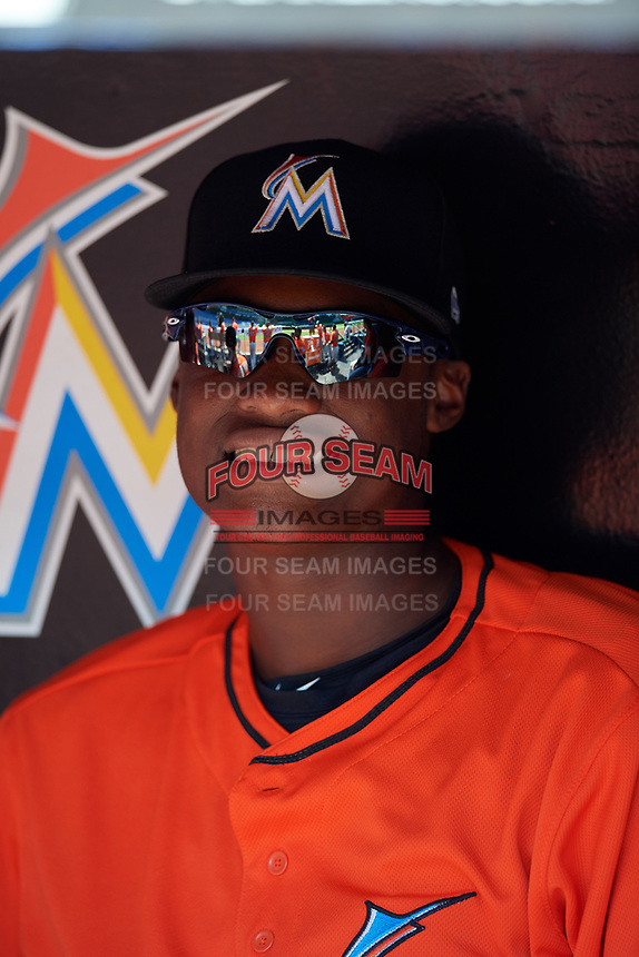 Miami Marlins Osiris Johnson (11) in the dugout before a Florida Instructional League game against the Washington Nationals on September 26, 2018 at the Marlins Park in Miami, Florida.  (Mike Janes/Four Seam Images)