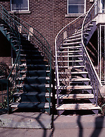 Montreal (Qc) CANADA - 1999 File Photo -<br /> Typical outdoor stairs on the Plateau burrough of Montreal.