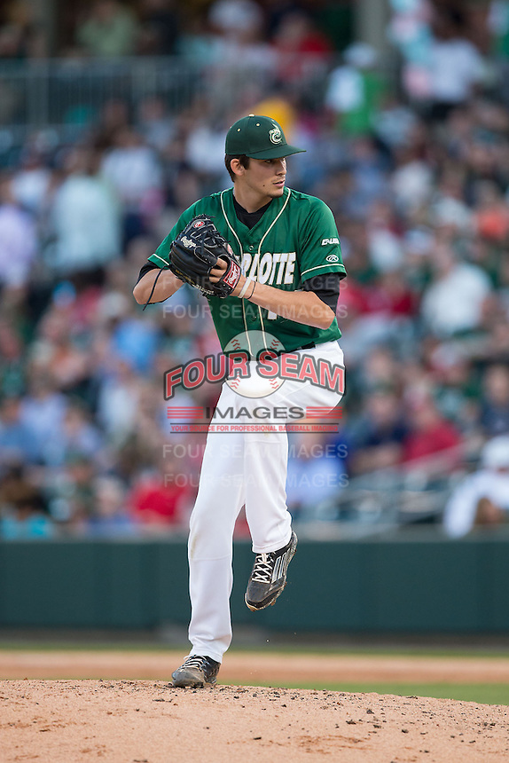 Charlotte 49ers relief pitcher Brandon Vogler (16) in action against the North Carolina State Wolfpack at BB&T Ballpark on March 31, 2015 in Charlotte, North Carolina.  The Wolfpack defeated the 49ers 10-6.  (Brian Westerholt/Four Seam Images)
