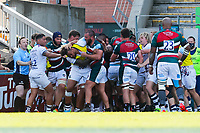 5th June 2021; Mattioli Woods Welford Road Stadium, Leicester, Midlands, England; Gallagher Premiership Rugby, Leicester Tigers versus Bristol Bears; A fight breaks out during the final set of scrums