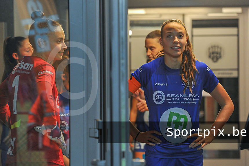 Gent's defender Silke Vanwynsberghe (21) and Gent's goalkeeper Nicky Evrard (1) pictured before a female soccer game between  AA Gent Ladies and Femina White Star Woluwe on the third matchday of the 2020 - 2021 season of Belgian Scooore Womens Super League , friday 2 nd of October 2020  in Oostakker , Belgium . PHOTO SPORTPIX.BE | SPP | STIJN AUDOOREN