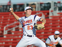 Starting pitcher Daniel Gossett (23) of the Clemson Tigers in a game against the Elon College Phoenix on March 21, 2012, at Fluor Field at the West End in Greenville, South Carolina. Clemson's 4-2 win was Gossett's first college win and head coach Jack Leggett's 1,200th career win. (Tom Priddy/Four Seam Images)
