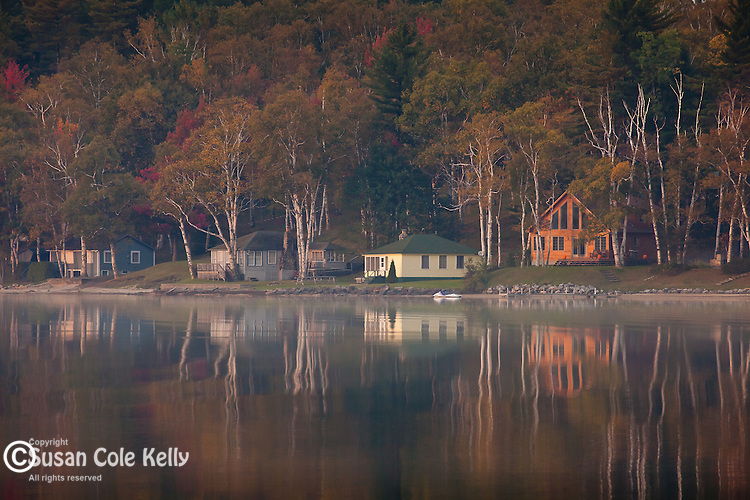 Autumn reflections in Island Pond, VT, USA