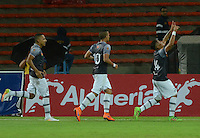 MEDELLIN - COLOMBIA -12 -07-2016: Los jugadores de Envigado FC, celebran el gol anotado a Deportivo Independiente Medellin, durante partido entre Deportivo Independiente Medellin y Envigado FC, por la fecha 3 de la Liga Aguila II 2016, en el estadio Atanasio Girardot de la ciudad de Medellin.  / The player of Envigado FC, celebrate a scored goal to Deportivo Independiente Medellin during a match between Deportivo Independiente Medellin and Envigado FC, for the date 3 of the Liga Aguila II 2016 at the Atanasio Girardot stadium in Medellin city. Photos: VizzorImage  / Leon Monsalve / Cont.