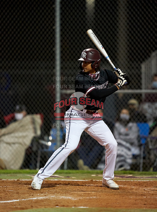 Riverview Rams Davis Jakobi (8) bats during a game against the Sarasota Sailors on February 19, 2021 at Rams Baseball Complex in Sarasota, Florida. (Mike Janes/Four Seam Images)