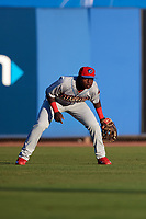 Clearwater Threshers left fielder Cornelius Randolph (2) during a game against the Dunedin Blue Jays on April 8, 2017 at Florida Auto Exchange Stadium in Dunedin, Florida.  Dunedin defeated Clearwater 12-6.  (Mike Janes/Four Seam Images)