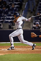 Lakeland Flying Tigers center fielder Jose Azocar (10) follows through on a swing during a game against the Tampa Yankees on April 7, 2017 at George M. Steinbrenner Field in Tampa, Florida.  Lakeland defeated Tampa 5-0.  (Mike Janes/Four Seam Images)