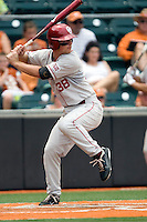 Third baseman Garrett Buechele #38 of the Oklahoma Sooners at bat against the Texas Longhorns in NCAA Big XII baseball on May 1, 2011 at Disch Falk Field in Austin, Texas. (Photo by Andrew Woolley / Four Seam Images)
