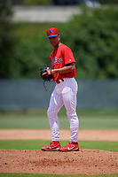 GCL Phillies West pitcher Dylan Castaneda (59) during a Gulf Coast League game against the GCL Tigers West on July 27, 2019 at the Carpenter Complex in Clearwater, Florida.  (Mike Janes/Four Seam Images)