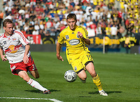 Chris Leitch eyes Robbie Rogers during MLS Cup 2008. Columbus Crew defeated the New York Red Bulls, 3-1, Sunday, November 23, 2008. Photo by John Todd/isiphotos.com